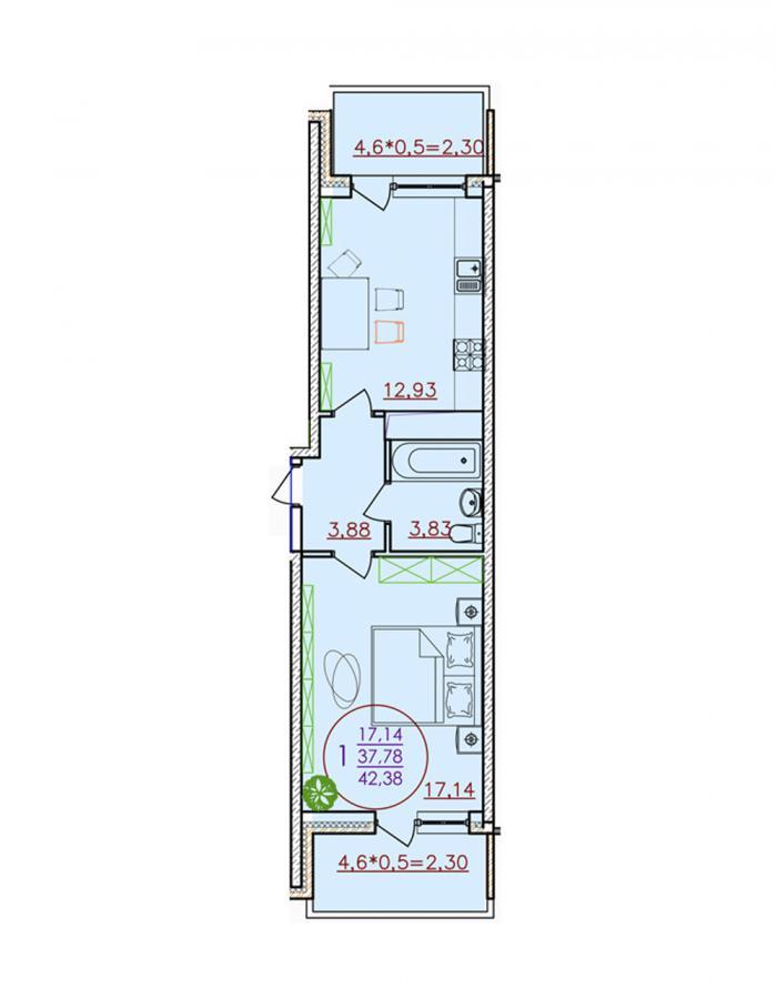 Однокомнатная квартира 42,38 (l1-1-6)  кв.м. в Детский сад в ЖК «Цветы»