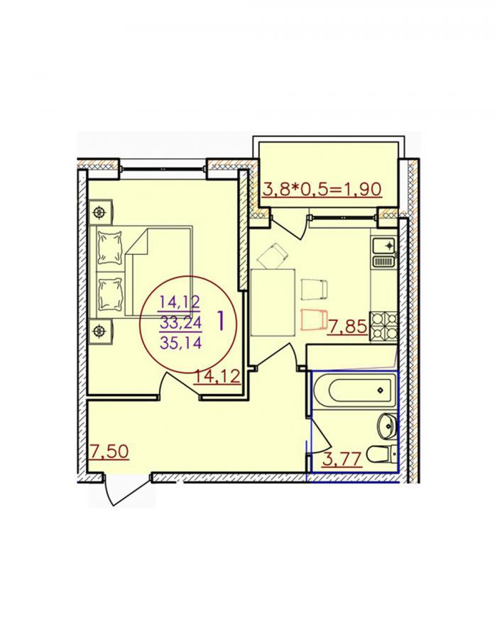 Однокомнатная квартира 35,14 (l1-4-5)  кв.м. в Детский сад в ЖК «Цветы»