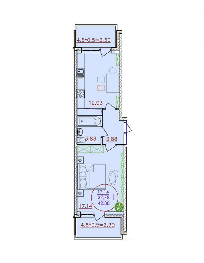Однокомнатная квартира 42,38 (l1-4-9)  кв.м. в Детский сад в ЖК «Цветы»