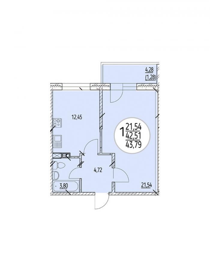 Однокомнатная квартира 43,79 (l2-1-2-2)  кв.м. в Детский сад в ЖК «Цветы»