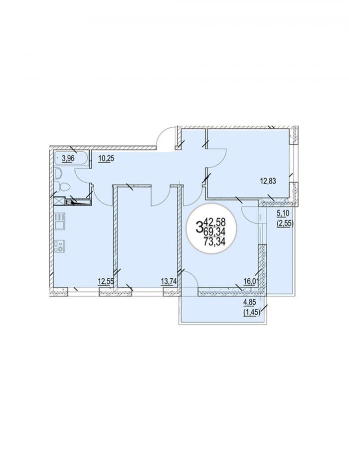 Трёхкомнатная квартира 73,34 (l2-3-2-6)  кв.м. в Детский сад в ЖК «Цветы»