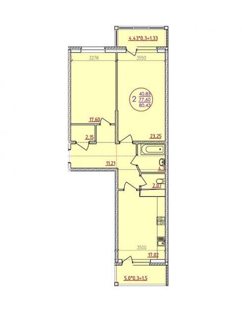 Двухкомнатная квартира 80,43  кв.м. в ЖК «Аврора Парк»
