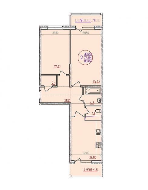 Двухкомнатная квартира 80,84  кв.м. в ЖК «Аврора Парк»