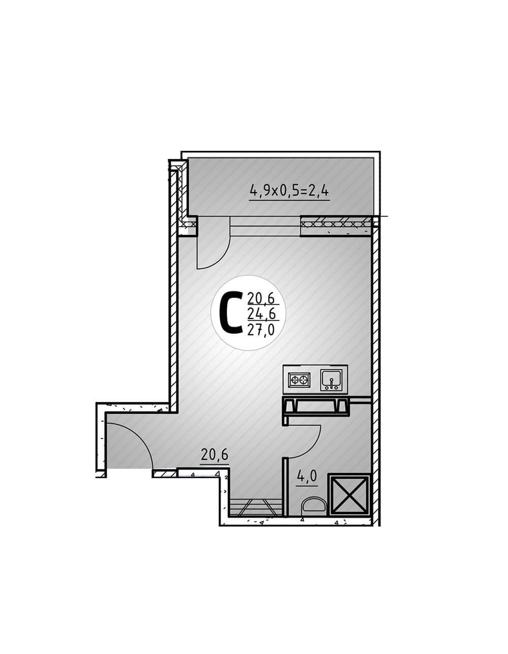 Студия 27 кв.м.