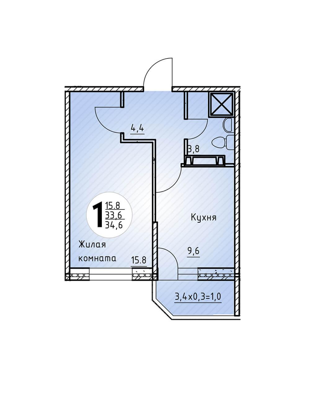 Однокомнатная квартира 34,6 кв.м.