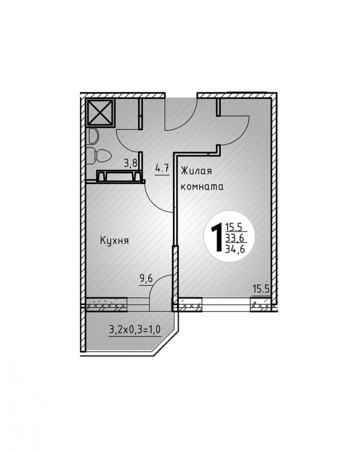 Однокомнатная квартира 34,6  кв.м. в Детский сад в ЖК «Цветы»