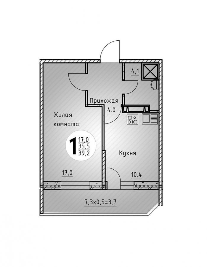 Однокомнатная квартира 39,2  кв.м. в Детский сад в ЖК «Цветы»