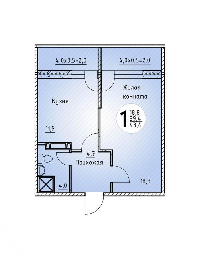 Однокомнатная квартира 43,4  кв.м. в Детский сад в ЖК «Цветы»