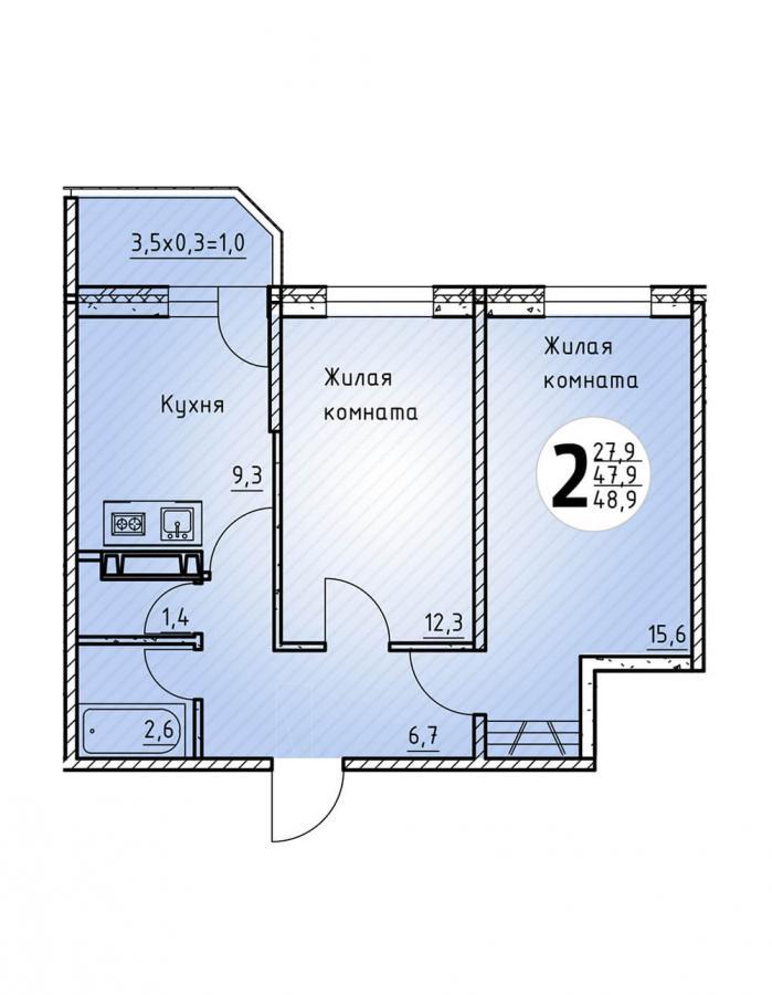Двухкомнатная квартира 48,9  кв.м. в Детский сад в ЖК «Цветы»