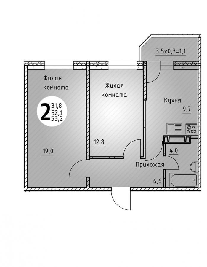 Двухкомнатная квартира 53,2  кв.м. в Детский сад в ЖК «Цветы»