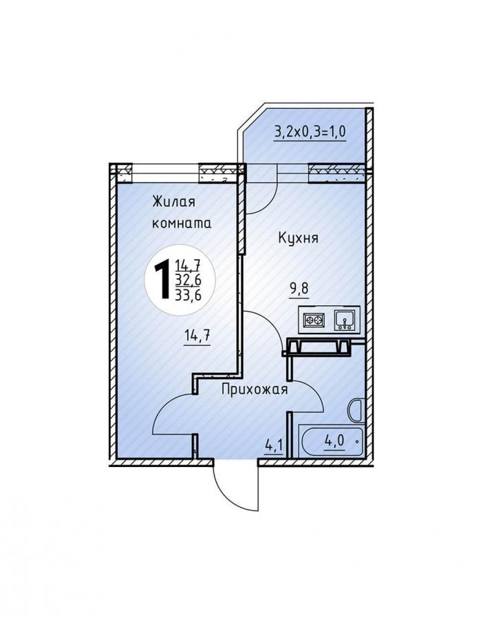 Однокомнатная квартира 33,6  кв.м. в Детский сад в ЖК «Цветы»