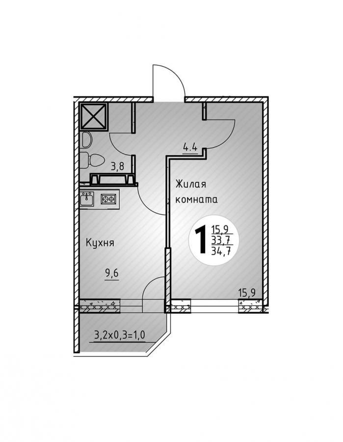 Однокомнатная квартира 34,7  кв.м. в Детский сад в ЖК «Цветы»