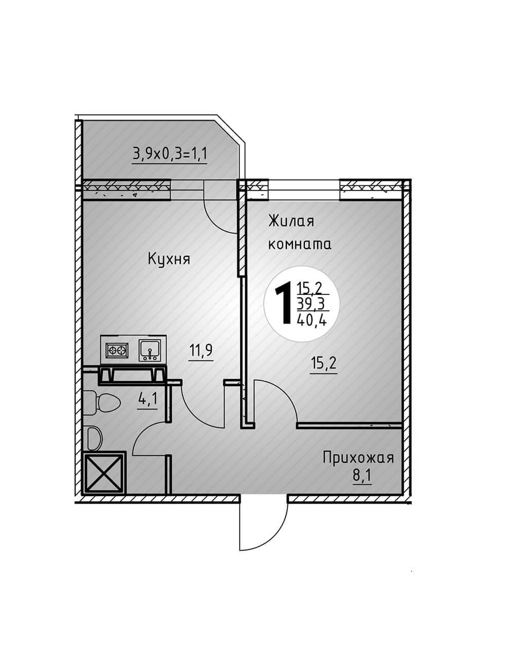 Однокомнатная квартира 40,4 кв.м.