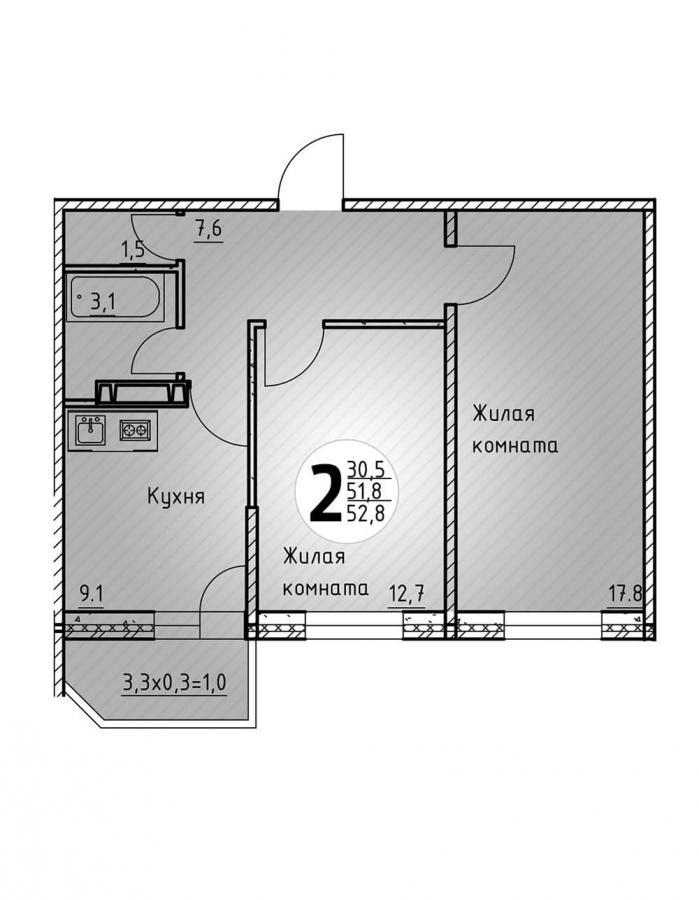 Двухкомнатная квартира 52,8  кв.м. в Детский сад в ЖК «Цветы»