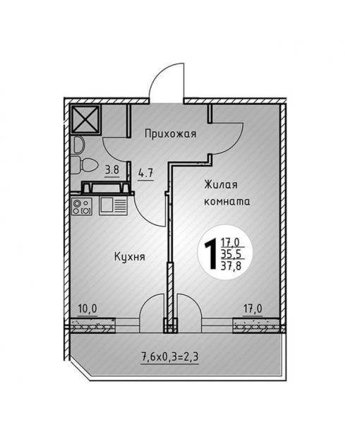 Однокомнатная квартира 37,8 1  кв.м. в Детский сад в ЖК «Цветы»