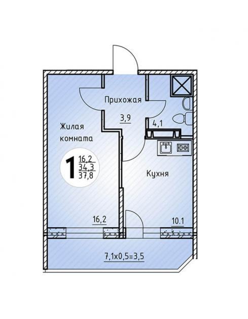 Однокомнатная квартира 37,8 2  кв.м. в Детский сад в ЖК «Цветы»