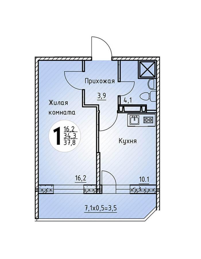 Однокомнатная квартира 37,8 кв.м.