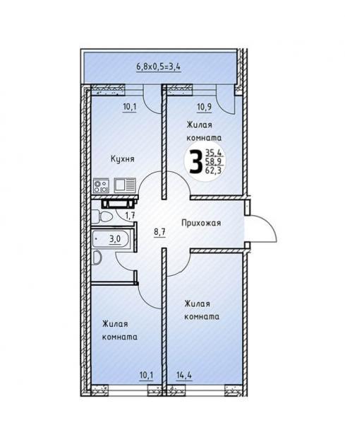 Трёхкомнатная квартира 62,3  кв.м. в Детский сад в ЖК «Цветы»