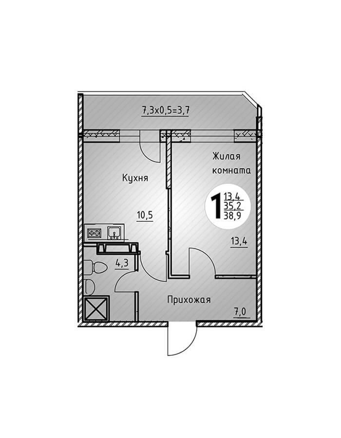 Однокомнатная квартира 38,9 кв.м.
