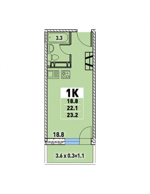 Студия 23,2 (l3467-9)  кв.м. в Детский сад в ЖК «Цветы»