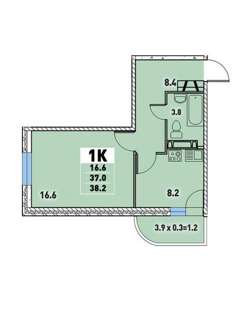 Однокомнатная квартира 38,2 (l125-11)  кв.м. в Детский сад в ЖК «Цветы»