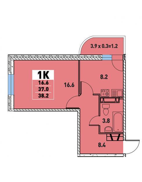 Однокомнатная квартира 38,2 (l3467-1)  кв.м. в Детский сад в ЖК «Цветы»