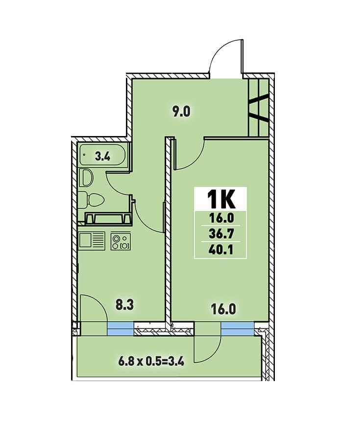 Однокомнатная квартира 40,1 кв.м.