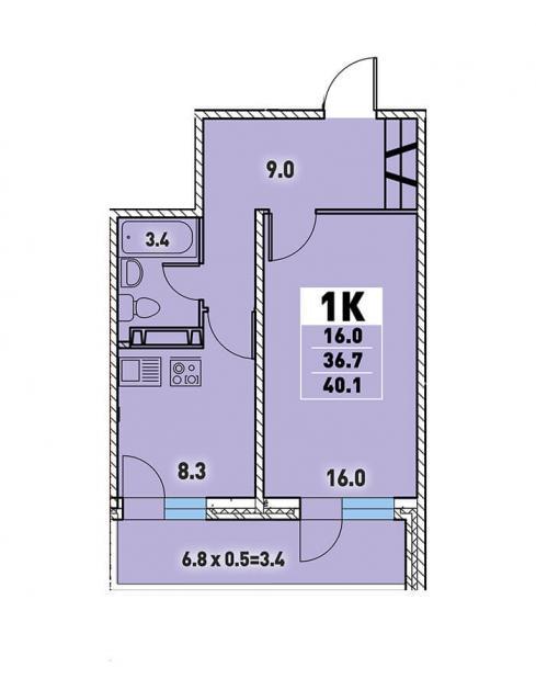 Однокомнатная квартира 40,1 (l3467-7)  кв.м. в Детский сад в ЖК «Цветы»