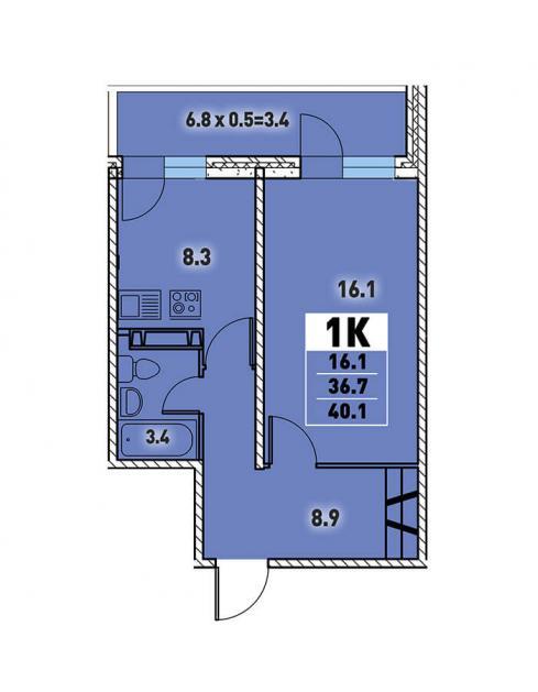 Однокомнатная квартира 40,1 (l125-4)  кв.м. в Детский сад в ЖК «Цветы»