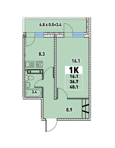 Однокомнатная квартира 40,1 (l3467-4)  кв.м. в Детский сад в ЖК «Цветы»