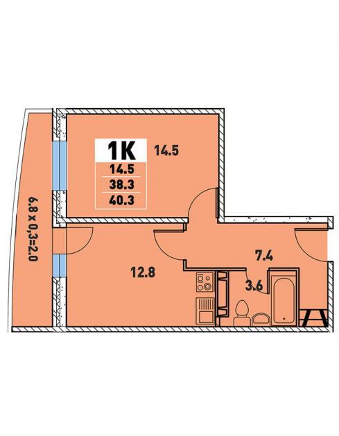Однокомнатная квартира 40,3 2 (l3467-12)  кв.м. в Детский сад в ЖК «Цветы»