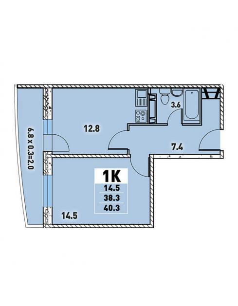 Однокомнатная квартира 40,3 (l125-12)  кв.м. в Детский сад в ЖК «Цветы»