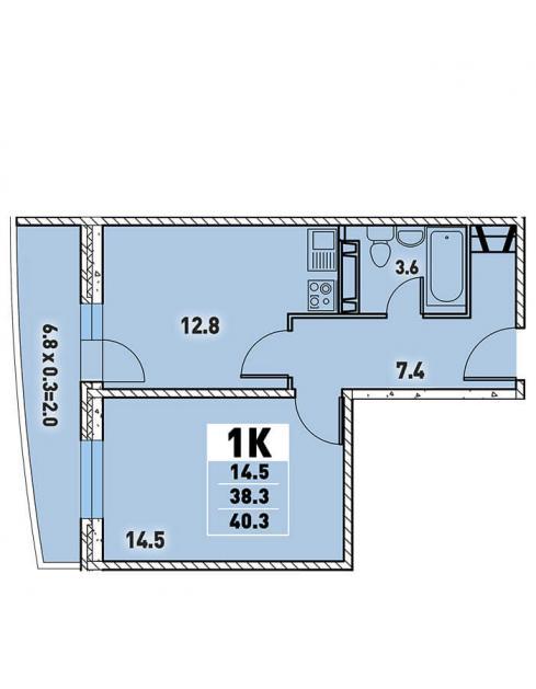 Однокомнатная квартира 40,3 (l3467-12)  кв.м. в Детский сад в ЖК «Цветы»