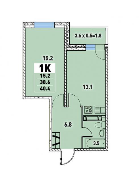 Однокомнатная квартира 40,4  (l125-2)  кв.м. в Детский сад в ЖК «Цветы»