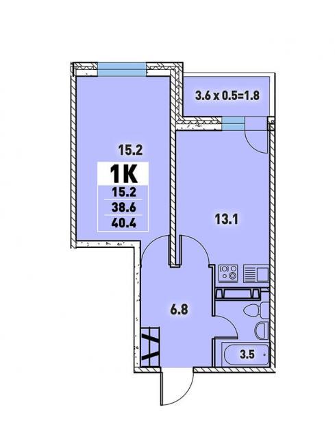 Однокомнатная квартира 40,4 (l3467-2)  кв.м. в Детский сад в ЖК «Цветы»