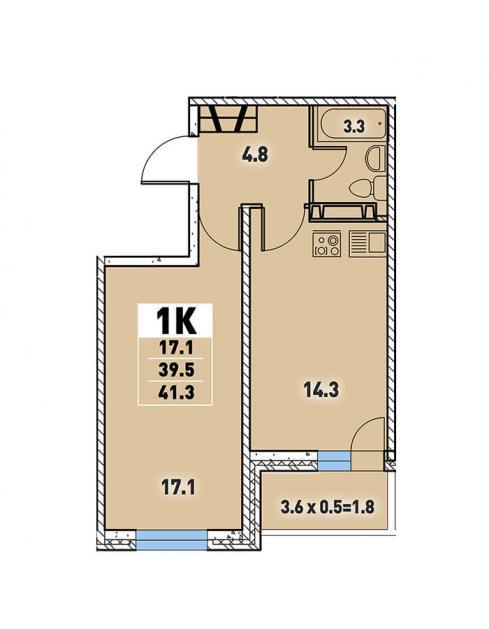 Однокомнатная квартира 41,3 (l3467-10)  кв.м. в Детский сад в ЖК «Цветы»