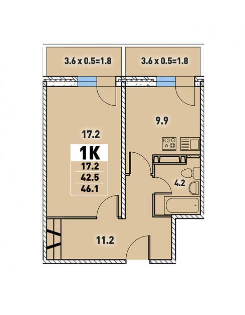 Однокомнатная квартира 46,1 (l125-3)  кв.м. в Детский сад в ЖК «Цветы»