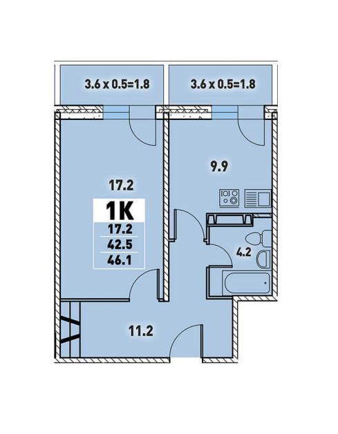 Однокомнатная квартира 46,1 (l3467-3)  кв.м. в Детский сад в ЖК «Цветы»