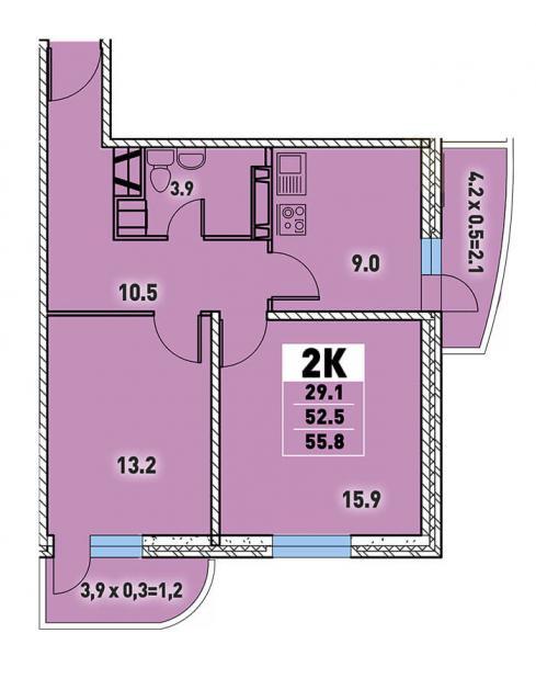 Двухкомнатная квартира 55,8 (l125-6)  кв.м. в Детский сад в ЖК «Цветы»