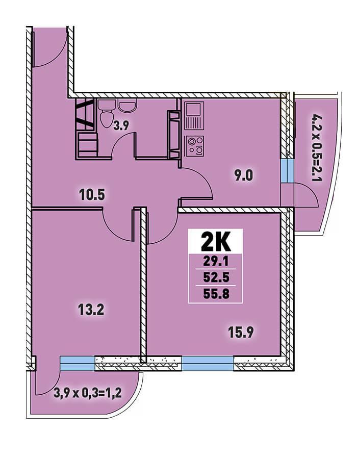 Двухкомнатная квартира 55,8 кв.м.