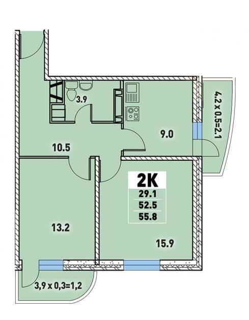 Двухкомнатная квартира 55,8 (l3467-6)  кв.м. в Детский сад в ЖК «Цветы»