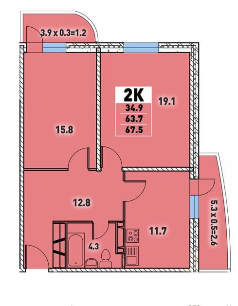 Двухкомнатная квартира 67,5 (l125-5)  кв.м. в Детский сад в ЖК «Цветы»