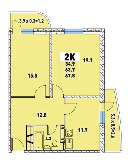 Двухкомнатная квартира 67,5 (l3467-5)  кв.м. в Детский сад в ЖК «Цветы»