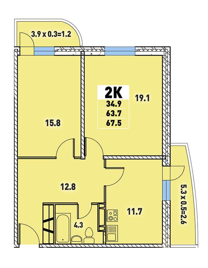 Двухкомнатная квартира 67,5 кв.м.