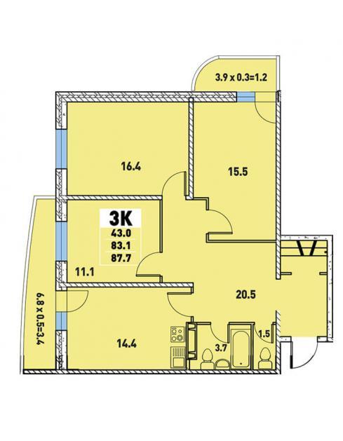Трёхкомнатная квартира 87,7 (l125-1)  кв.м. в Детский сад в ЖК «Цветы»