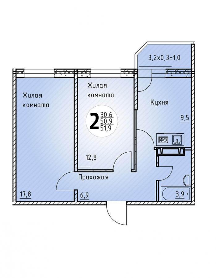 Двухкомнатная квартира 51,9  кв.м. в Детский сад в ЖК «Цветы»