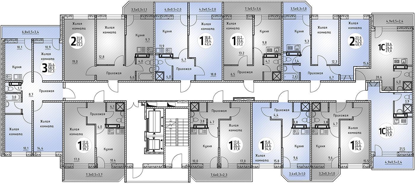 Однокомнатная квартира 40.6 кв.м. на этаже