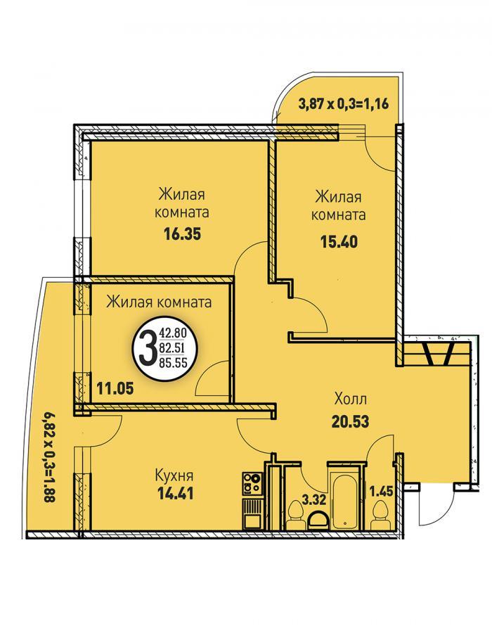Трёхкомнатная квартира 85,55 (l125-1)  кв.м. в ЖК «Цветы»