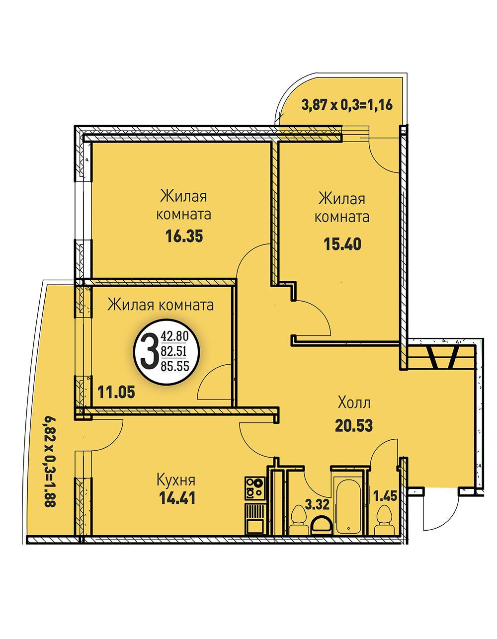 ЖК «Цветы» Квартира 85,55(Ипотечные каникулы)