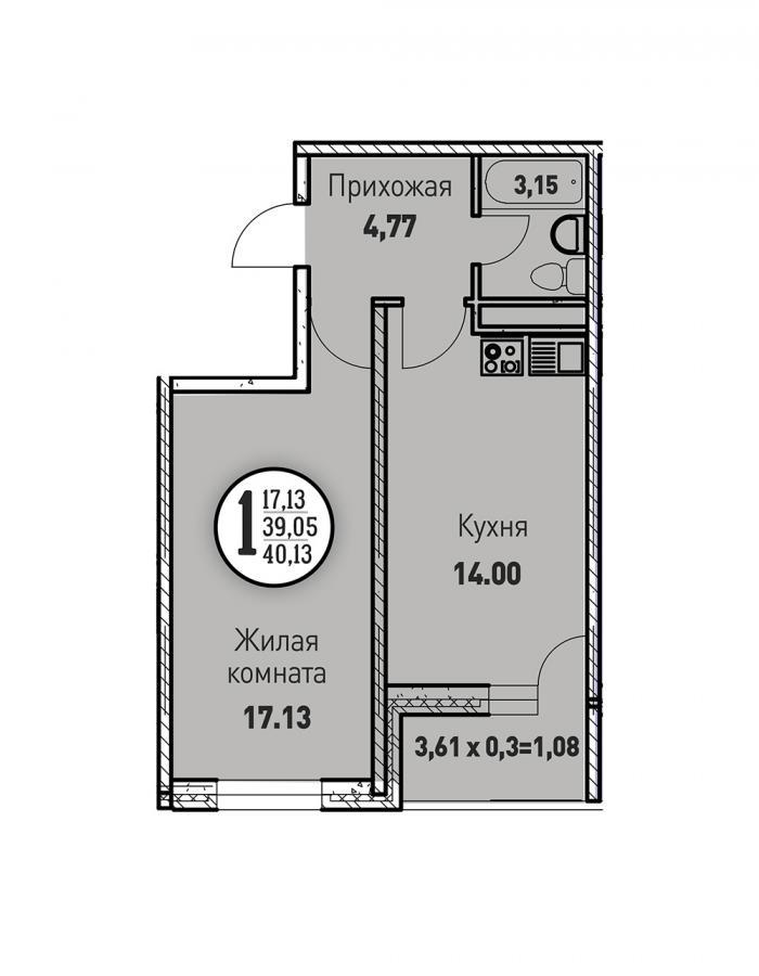 Однокомнатная квартира 40,13 (l125-10)  кв.м. в ЖК «Цветы»